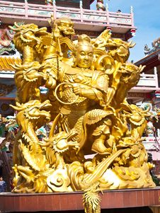 Free Goddess NaZha Beating The Dragon And China Temple Stock Photo - 19833050
