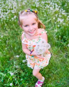 Free Cute Little Girl  On The Meadow Stock Photo - 19833140