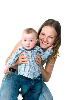 Free Pretty Young Women With Her Son Stock Image - 19833141