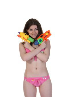 Free Bikini Girl With Two Water Gun Royalty Free Stock Image - 19834486