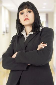 Serious Woman In Office Royalty Free Stock Photo