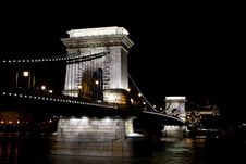 Free Chain Bridge Over Danube River At Night. Royalty Free Stock Images - 19836319