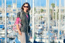 Free Portrait Of Woman In The Background Of Yachts Royalty Free Stock Images - 19836369