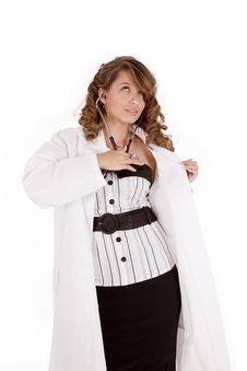 Woman Doctor Checking Heart Royalty Free Stock Photos