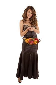 Holding Fruit Dress Stock Photography