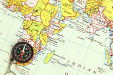 Free A Compass On A Map Royalty Free Stock Image - 19837506