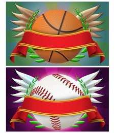 Free Basketball And Baseball Banner Stock Image - 19837831
