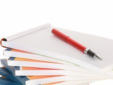 Free Red Pen On Notebook Stack Royalty Free Stock Image - 19837926
