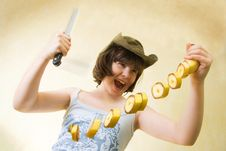 Free The Girl With A Knife And Banana Stock Photo - 19838360