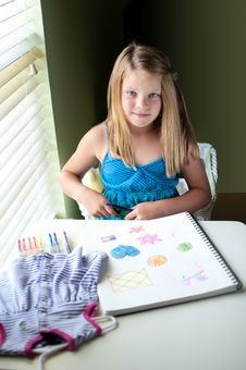 Free Young Girl Drawing By Window Royalty Free Stock Image - 19838876