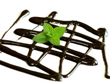 Free Chocolate Syrup And Leaf Of Mint Isolated On White Royalty Free Stock Images - 19838979