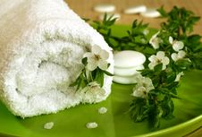 Free Spa Composition Of Towel, Stones And Flowers Royalty Free Stock Photos - 19839068