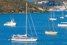 Free Sailboats Anchored In St. Thomas Harbor Stock Photo - 19839270