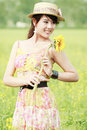 Free Asia Girl In Rape Field Stock Image - 19842021