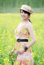 Free Asian Beauty In Rape Field Royalty Free Stock Photo - 19842155