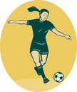 Free Woman Girl Playing Soccer Royalty Free Stock Photography - 19843057