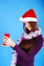 Free Beautiful Sexy Girl Wearing Santa Claus Clothes. Stock Images - 19846554