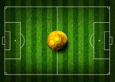 Soccer Football On Grass Field Stock Photography