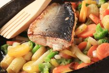 Roasted Salmon Trout Fillet And Mixed Vegetables Stock Photo