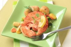 Salmon And Mixed Vegetables Royalty Free Stock Images