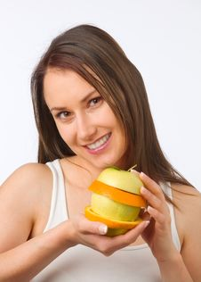 Free Young Woman With Fresh Fruit Stock Photos - 19841013