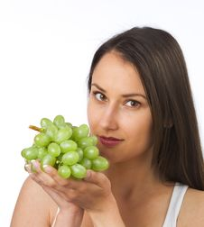 Free Young Woman With Fresh Grapes Stock Image - 19841021