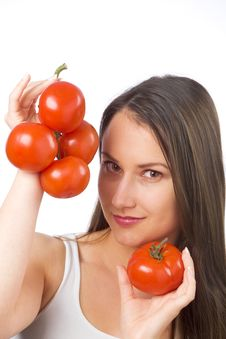 Free Young Woman Holding Tomatoes Stock Photo - 19841090