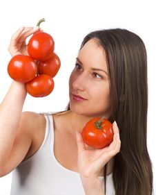 Free Young Woman Holding Fresh Tomatoes Stock Images - 19841104