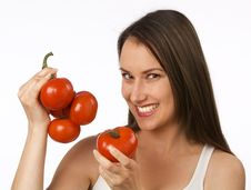 Free Young Woman Holding Tomatoes Royalty Free Stock Photo - 19841125