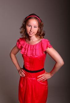 Free Adorable Lady In Red Dress Stock Photo - 19841220