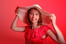 Free Lady In Red With Summer Hat Royalty Free Stock Image - 19841236