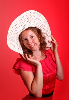 Free Lady In Red With Summer Hat Stock Photo - 19841250
