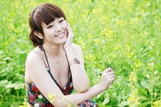 Free Summer Girl In Rape Field. Royalty Free Stock Photos - 19841448