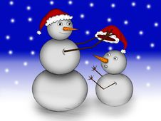 Free Two Snowman In The Snow At Night Royalty Free Stock Images - 19841469