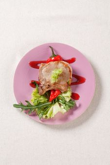 Free Roast Pork Chop And Accompaniment Stock Photo - 19841470