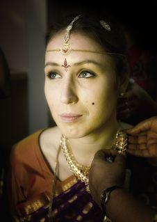 Indian Wedding - Preparation Of Bride Stock Photos