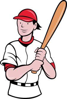 Free Baseball Player Batting Cartoon Stock Photography - 19842812