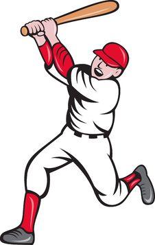 Free Baseball Player Batting Cartoon Royalty Free Stock Photography - 19842817