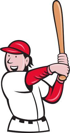 Free Baseball Player Batting Cartoon Stock Photography - 19842822