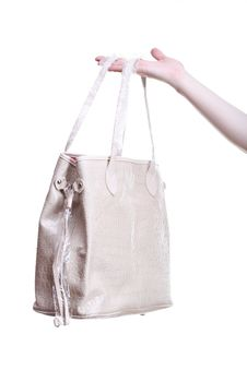 New Handbag In Woman Hand Isolated Royalty Free Stock Image