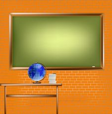 Free Empty School Blackboard At Brick Wall Stock Photography - 19843512