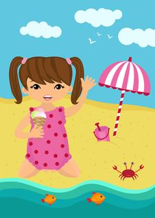 Little Girl Playing On The Beach Stock Photos
