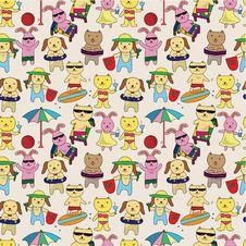 Free Summer Animal Seamless Pattern Stock Image - 19844061