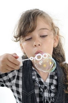 White Girl Creating Bubbles Stock Photos