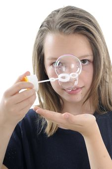 Girl Having Fun With Bubble Stock Photos