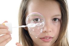 Closeup With Soap Bubbles And Human Face Stock Photos