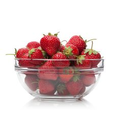 Free Fresh Strawberries In A Glass Dish On White. Royalty Free Stock Photos - 19845358