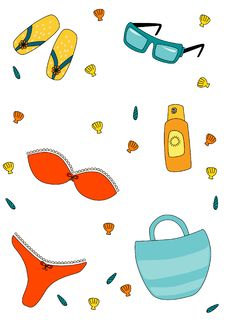 Collection Of Summer Beach Items Royalty Free Stock Images