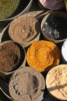 Various Indian Spices That Is Brown Stock Photo