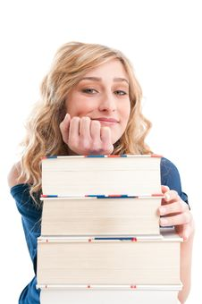 Pensive Satisfied Student Girl Stock Photography